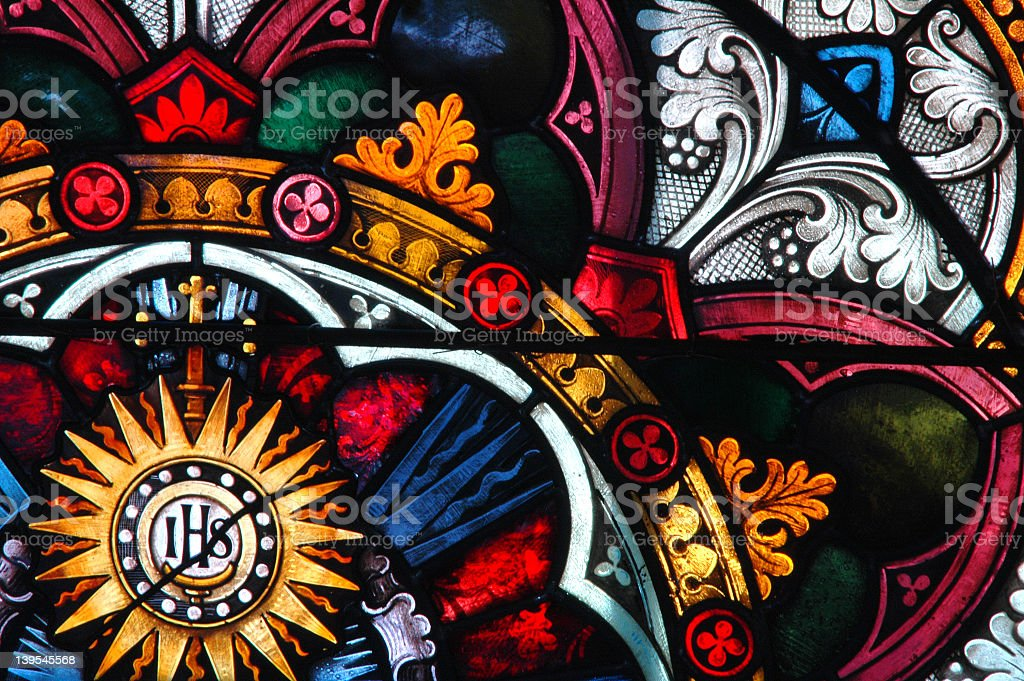 Colorful stained glass window pattern A close-up of a 150+ year old stained glass window. 19th Century Stock Photo