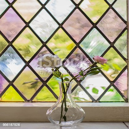 Colorful Stained Glass With Flowers In Vase Stock Photo More