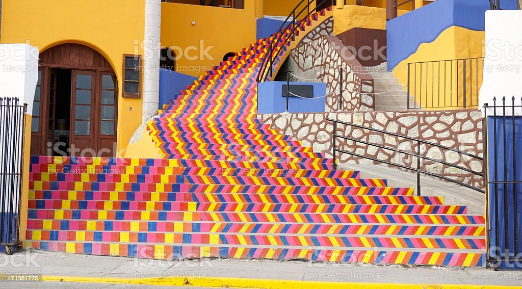 Colorful Staircase in Mexico stock photo