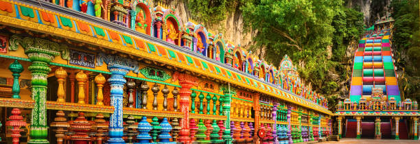 Colorful stairs of Batu caves, Malaysia. Panorama Beautiful view of colorful stairs of Batu caves, Kuala Lumpur, Malaysia. Panorama kuala lumpur batu caves stock pictures, royalty-free photos & images