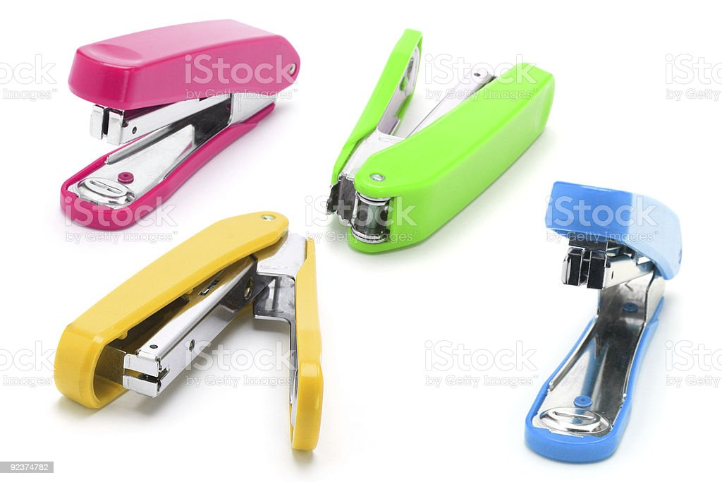 Colorful staplers stock photo
