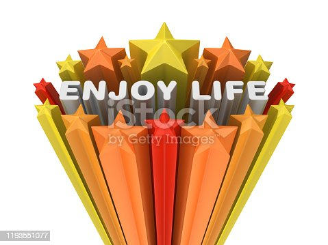 Colorful Stars with ENJOY LIFE Phrase - White Background - 3D Rendering