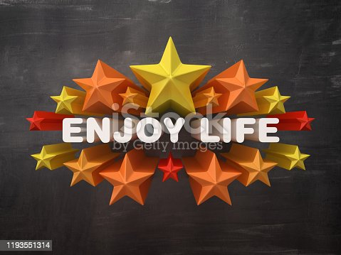 Colorful Stars with ENJOY LIFE Phrase on Chalkboard Background - 3D Rendering