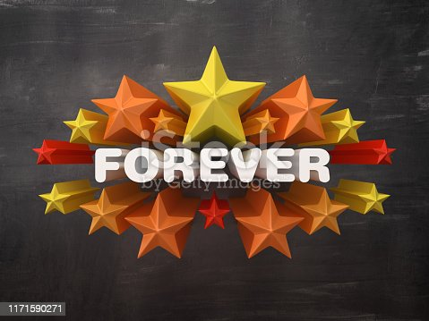 istock Colorful Stars with FOREVER Word on Chalkboard Background - 3D Rendering 1171590271