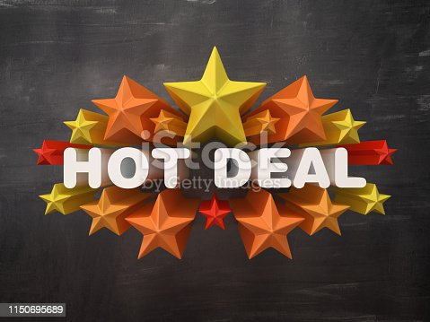Colorful Stars with HOT DEAL Word on Chalkboard Background - 3D Rendering
