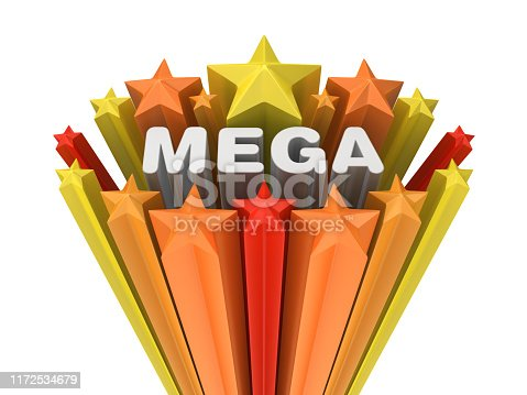 Colorful Stars with MEGA Word - White Background - 3D Rendering
