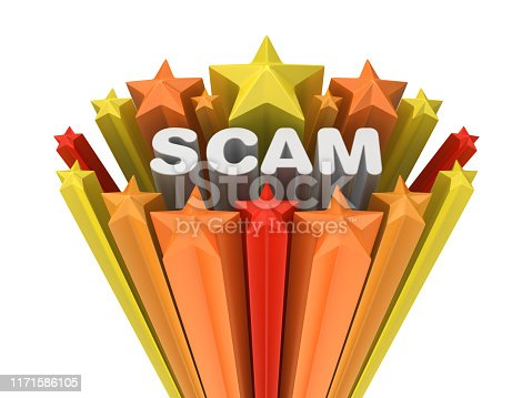 Colorful Stars with SCAM Word - White Background - 3D Rendering