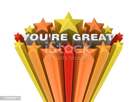 Colorful Stars with YOU'RE GREAT Phrase - White Background - 3D Rendering