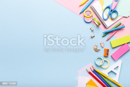 istock Colorful stationary school supplies 988715060
