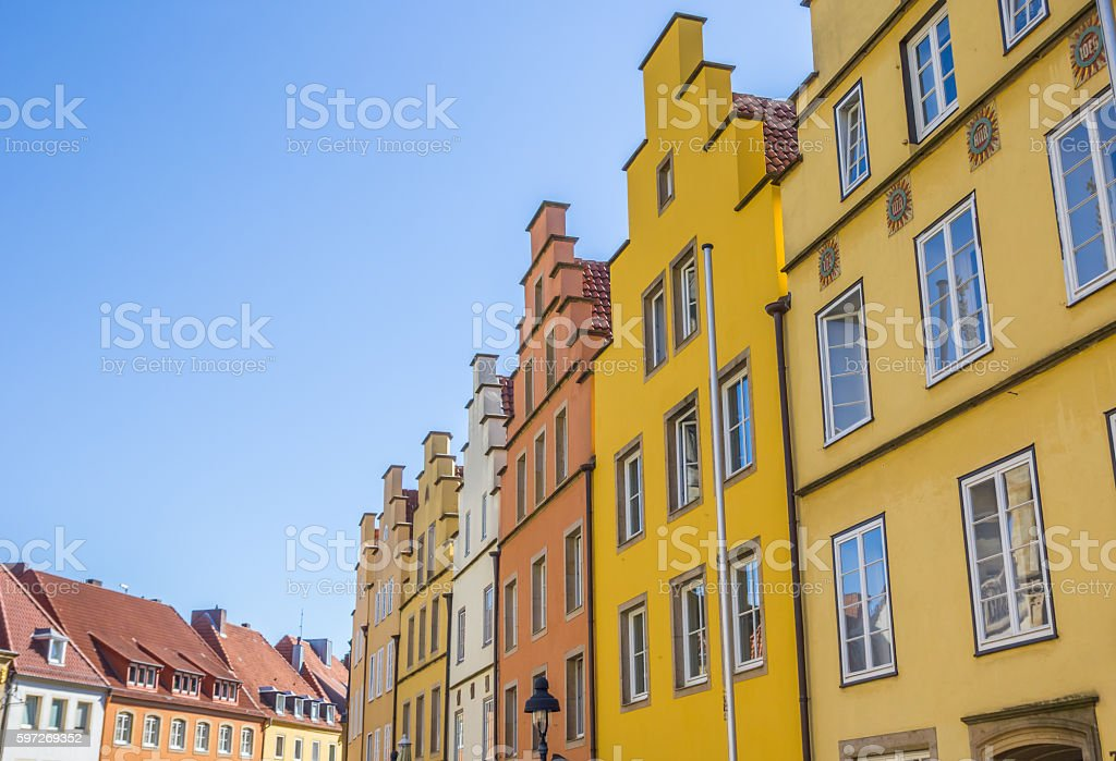 Colorful step gables at the central market square in Osnabruck royalty-free stock photo