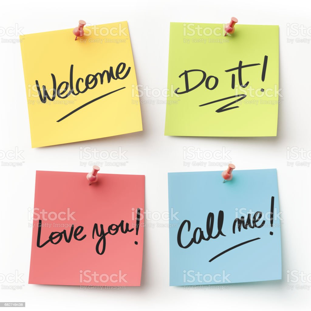Colorful Sticky Note Message stock photo