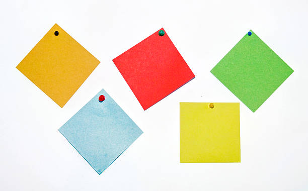 colorful sticky note with pin on a white wall stock photo