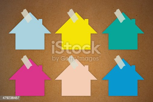istock Colorful sticky Notes on wall, House shape 479238457