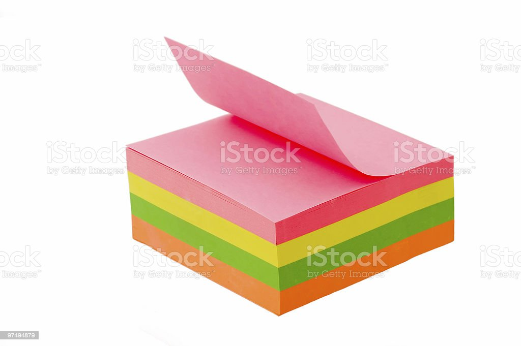 Colorful sticky notes over a white background stock photo
