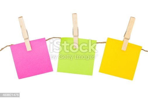 istock Colorful sticky notes with clothespins. 453821475