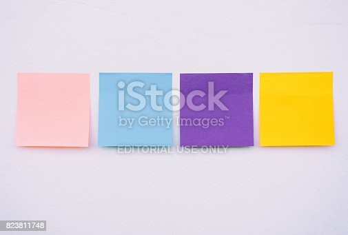 istock Colorful sticky paper on a wall 823811748