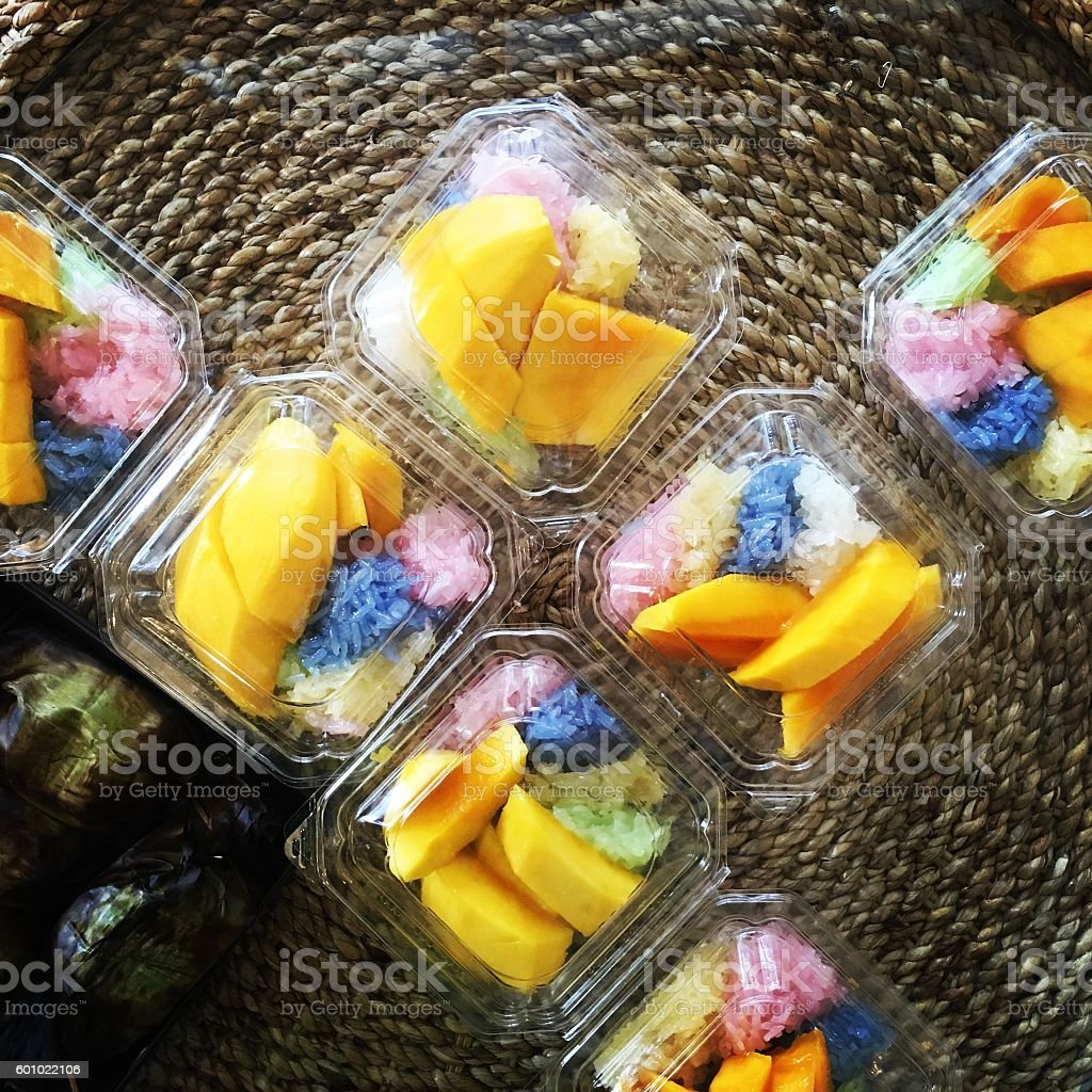 Colorful sticky rice and mango stock photo
