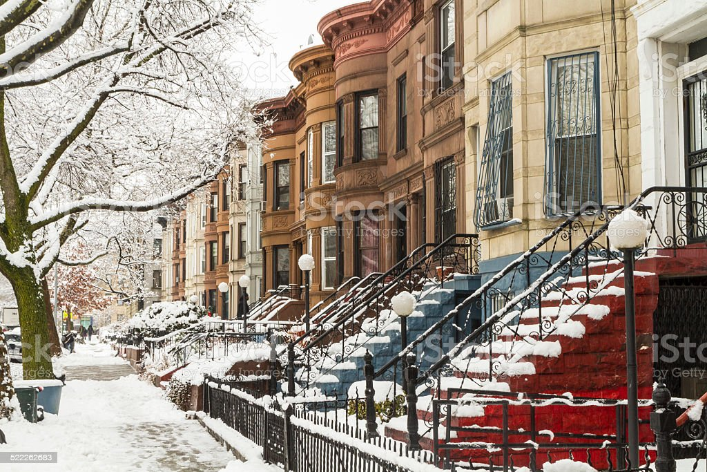 Colorful Stoops in the Snow stock photo