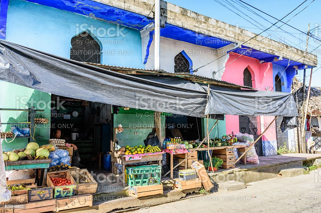 Colorful store in Caribbean town, Livingston, Guatemala stock photo