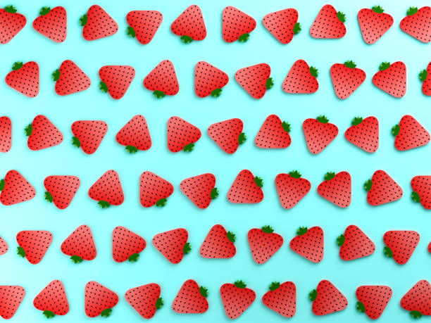 colorful strawberry food background - flat design stock photos and pictures