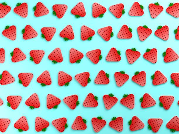 arrière-plan coloré alimentaire aux fraises - design plat photos et images de collection