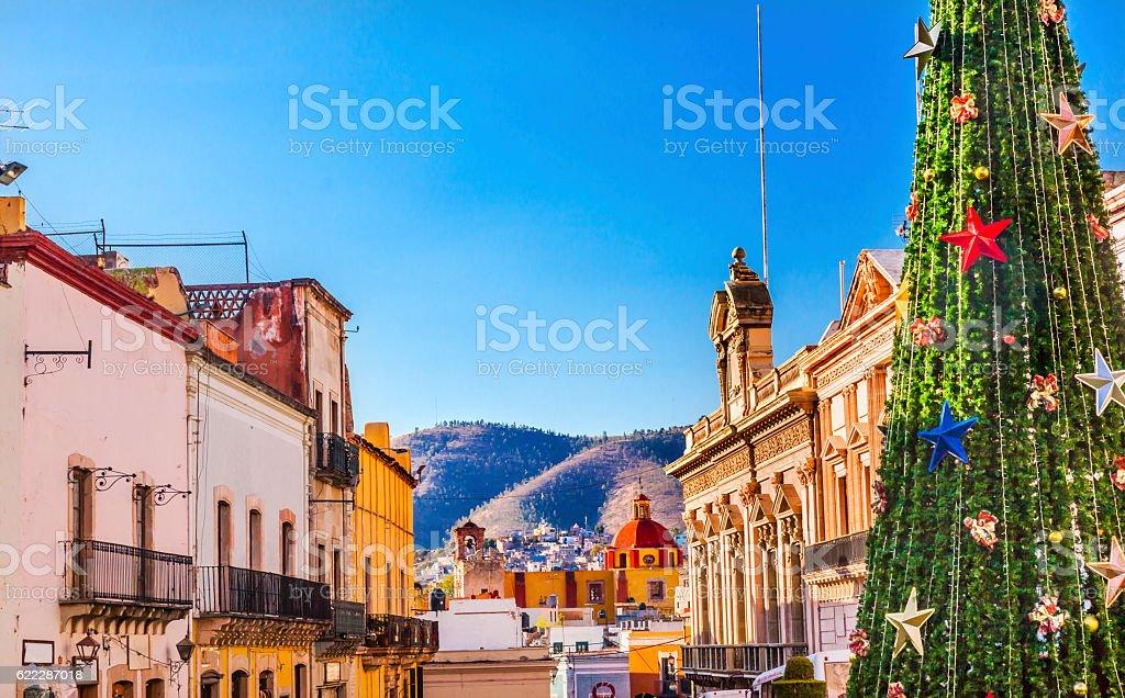 Colorful Street Christmas Decorations Tree Guanajuato Mexico stock photo