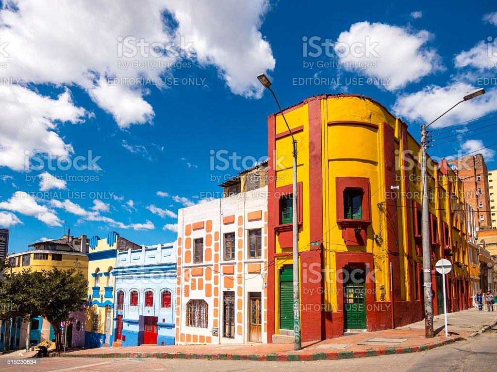 Colorful street in Bogota, Colombia stock photo