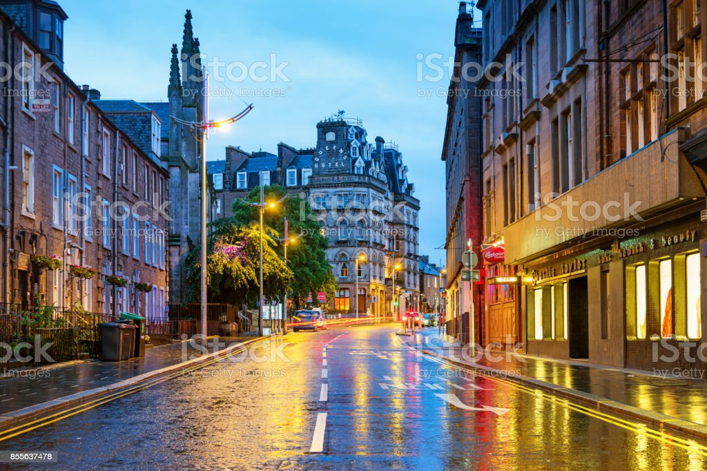 Colorful street in downtown Dundee Scotland UK stock photo