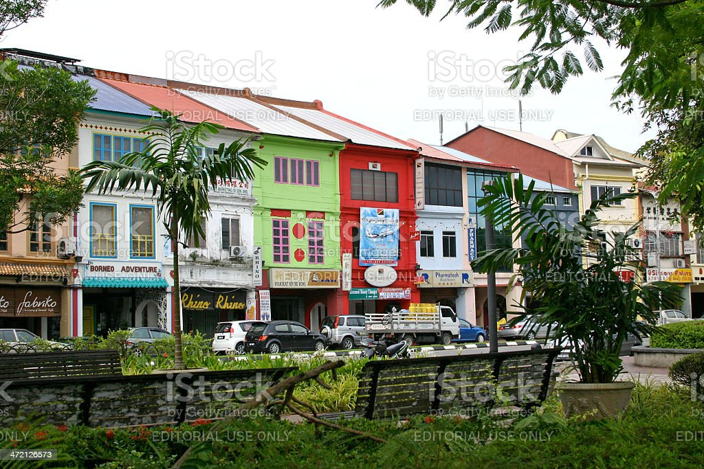 Colorful Street in Kuching stock photo