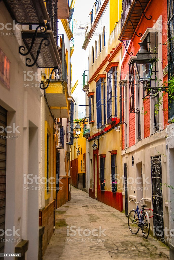 Colorful Street in Seville, Spain stock photo