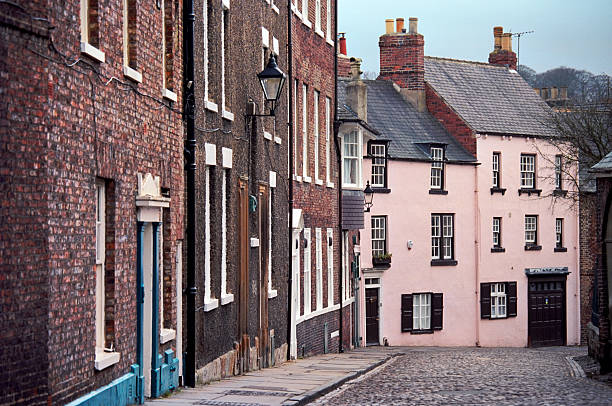 Colorful street of Durham - typical anglosaxon cityscape stock photo
