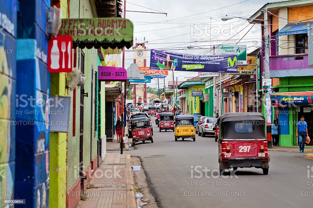 Colorful street of Nicaragua stock photo