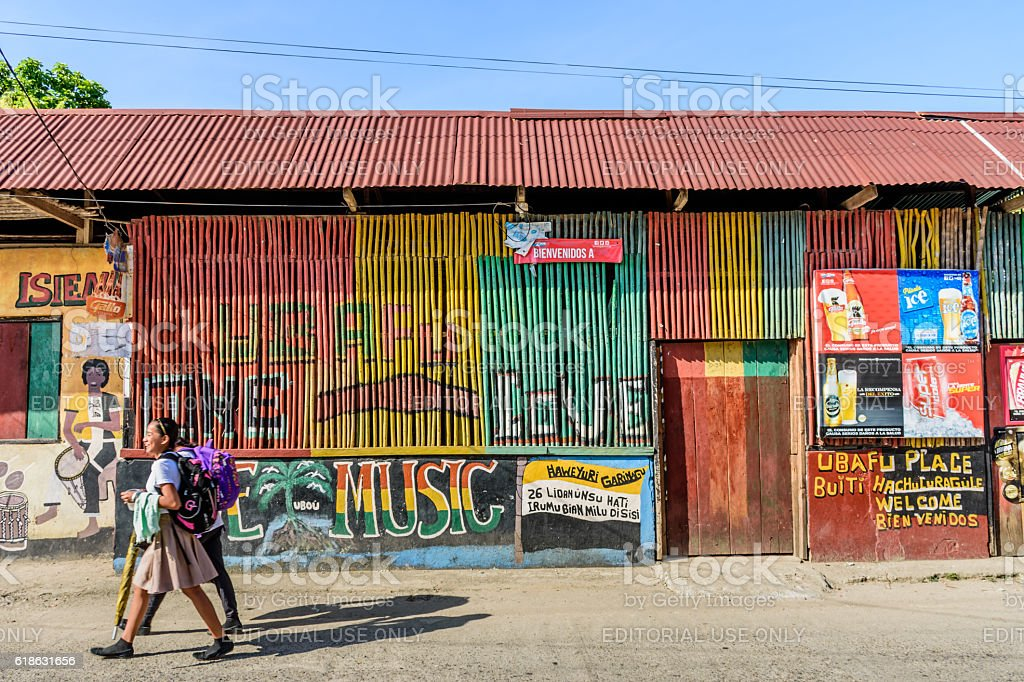 Colorful street scene, Livingston, Guatemala stock photo