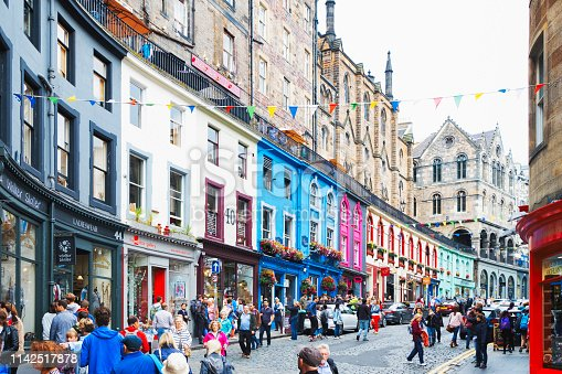 Colorful street with shops Edinburgh Old Town