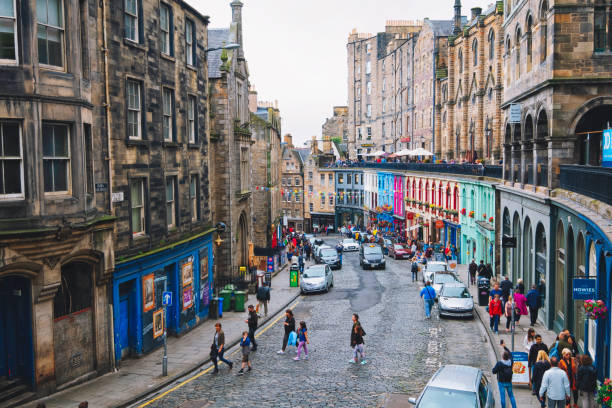 Colorful street with shops Edinburgh Old Town stock photo