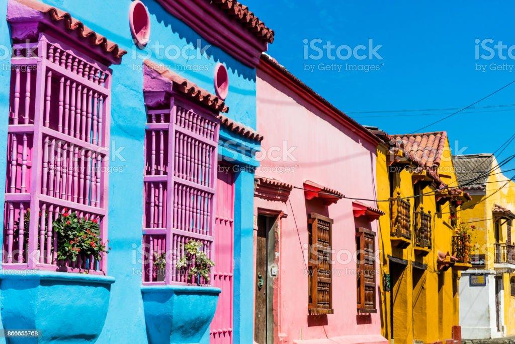Colorful streets Getsemani  Cartagena de los indias Bolivar Colo stock photo