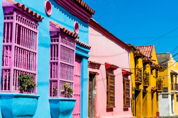 colorful streets getsemani  cartagena de los indias bolivar colo - colombia stock photos and pictures