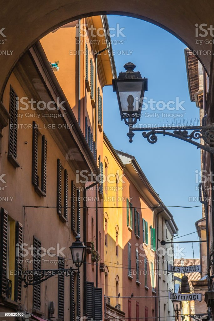 Colorful streets in Bologna old town, Italy - Royalty-free Arcade Stock Photo