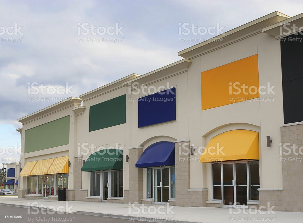 Colorful Strip Mall Store Exteriors stock photo
