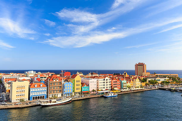 Colorful strip of houses on the Dutch Island of Curacao stock photo