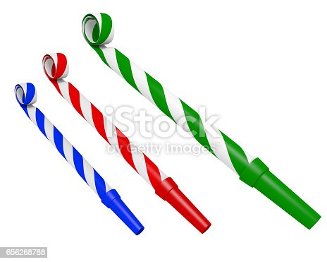 3D rendering of three party blowers used in celebrations and making noise, isolated over a white background.