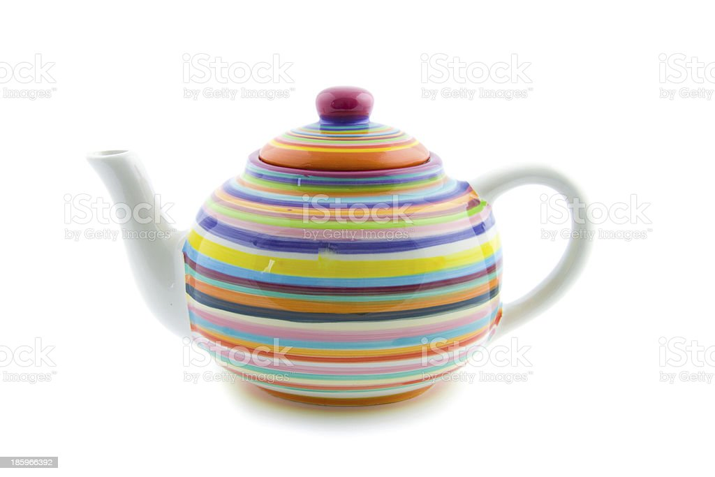 colorful striped teapot royalty-free stock photo