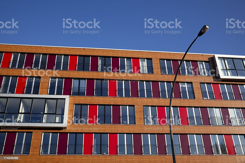 colorful stripped apartments royalty-free stock photo