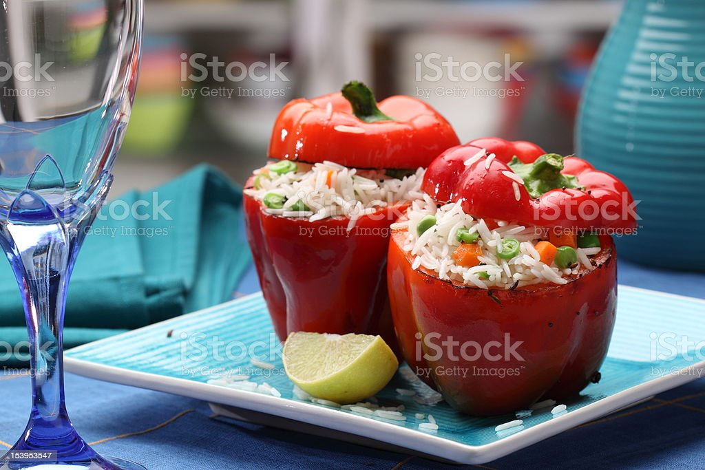 Colorful Stuffed Peppers stock photo