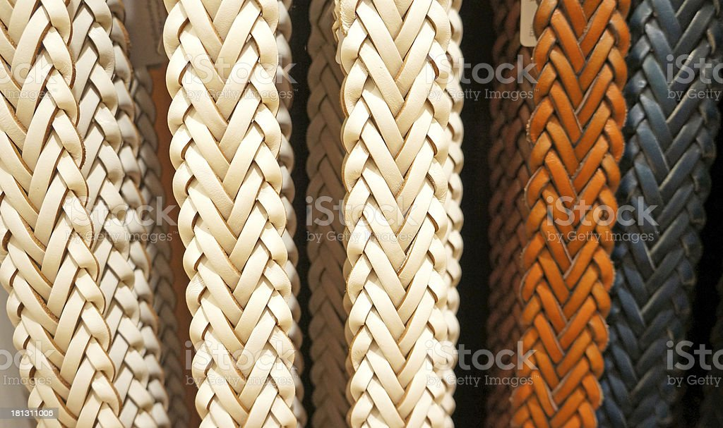 colorful suede trouser belts display royalty-free stock photo