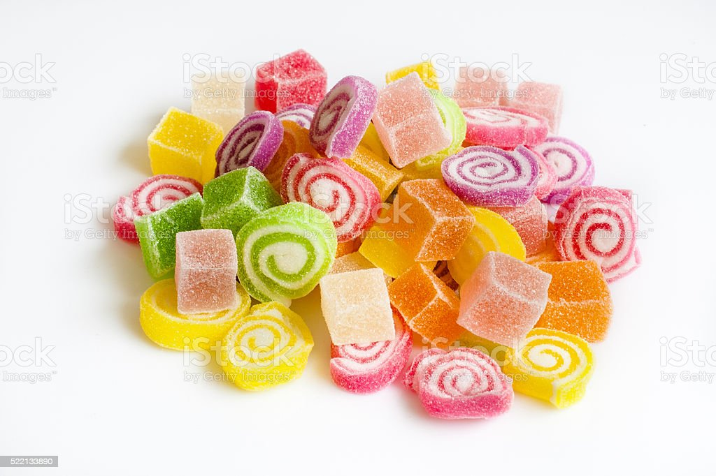 Colorful sugar jelly candy stock photo
