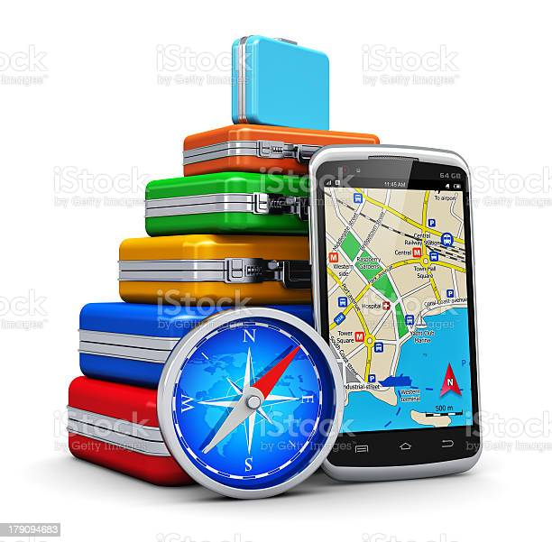 Colorful Suitcases With Gps And Compass Stock Photo - Download Image Now