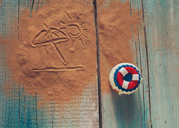 colorful summer cupcake - marinekuchen stock-fotos und bilder