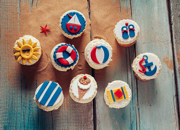 colorful summer cupcakes - marinekuchen stock-fotos und bilder