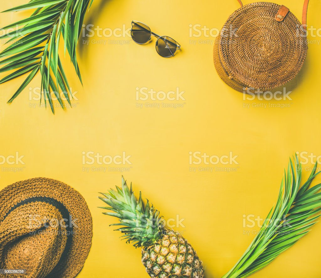 Colorful summer fashion outfit flat-lay stock photo